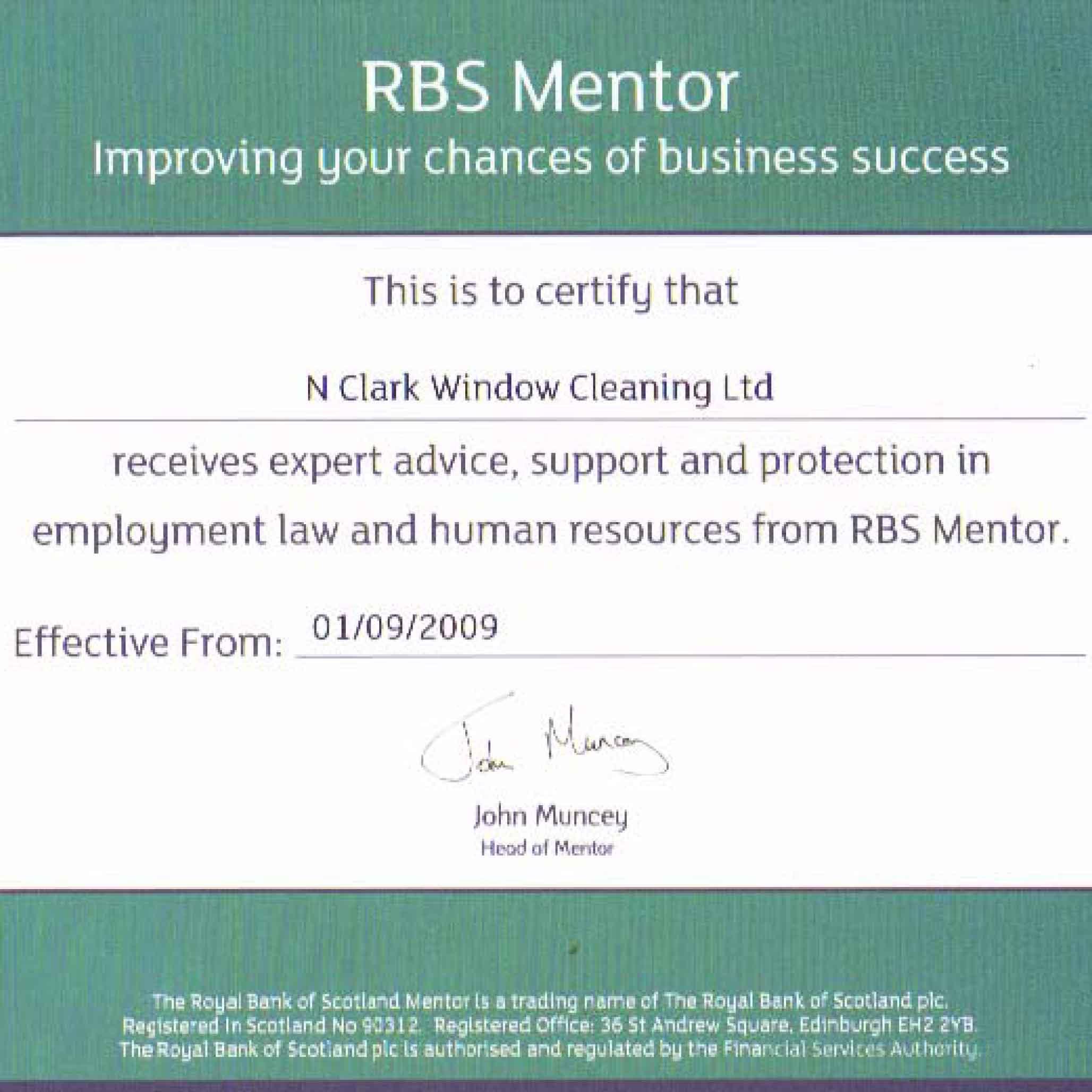 RBS Mentor certificate