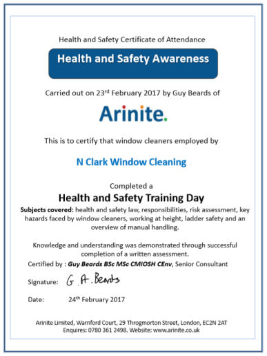 Group window cleaner training certificate