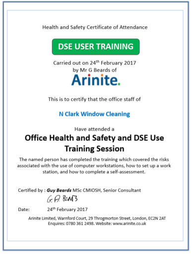 N Clark Office safety & DSE training certificate general